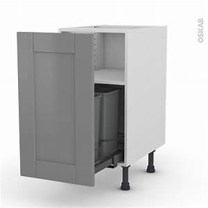 Meuble Poubelle Cuisine : meuble de cuisine poubelle coulissante filipen gris 1 ~ Dallasstarsshop.com Idées de Décoration