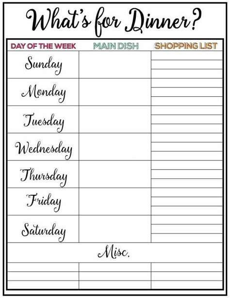 weekly menu plan  skip   lou