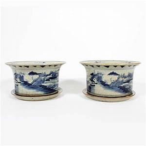 pair of chinese export blue and white flower pot with saucer With kitchen cabinets lowes with flower pot candle holder