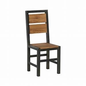 Chaise de repas chene et metal ferscott for Meuble salle À manger avec chaise en chene