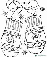 Winter Coloring Pages Mittens sketch template