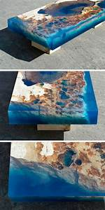 New cut stone tables encased in resin mimic an ocean reef for New cut stone tables encased in resin mimic an ocean reef
