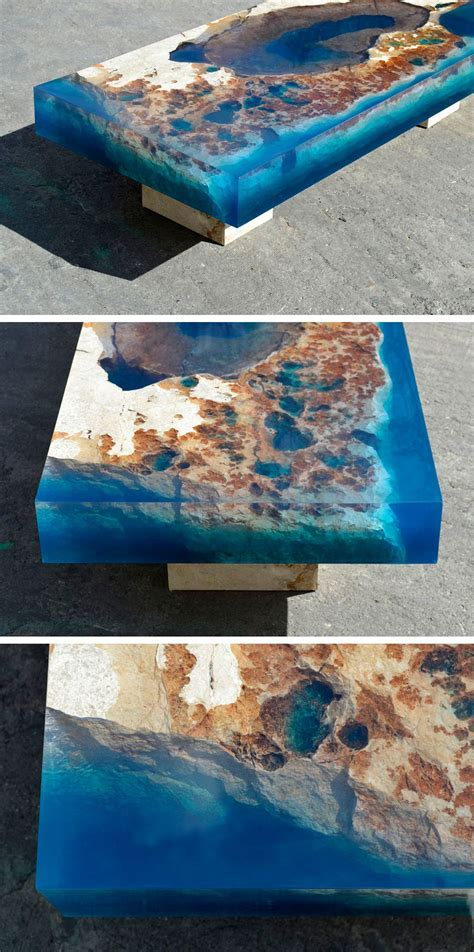 New Cut Stone Tables Encased in Resin Mimic an Ocean Reef