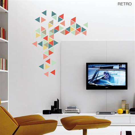 geometric wall design geometric triangles vinyl wall sticker set by oakdene