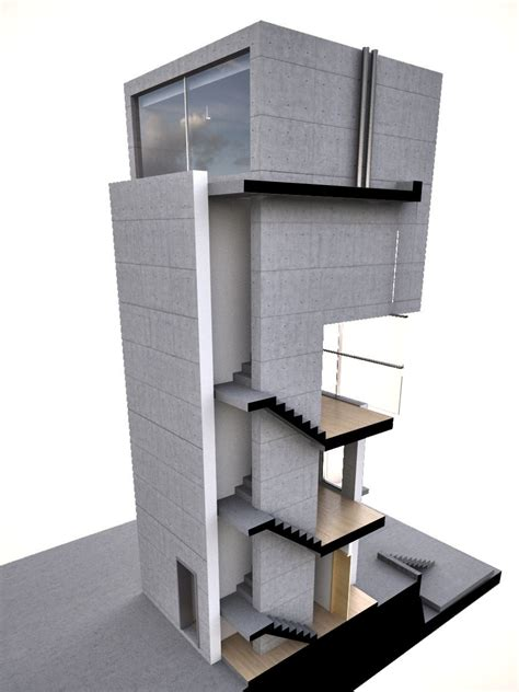 digital render of tadao ando39s 4x4 house by zion abraham