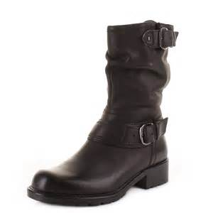 womens boots clarks womens clarks orinocco jive black leather mid calf biker style ankle boots size ebay