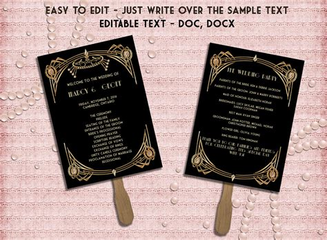 printable wedding program template art deco great gatsby inspired black  gold editable