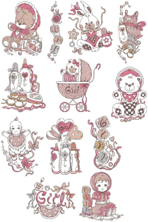 baby girl stuff collection machine embroidery designs