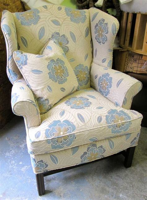 print of upholstered wingback chairs furniture