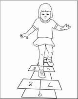 Hopscotch Playing Clip Clipart Abcteach Bw sketch template