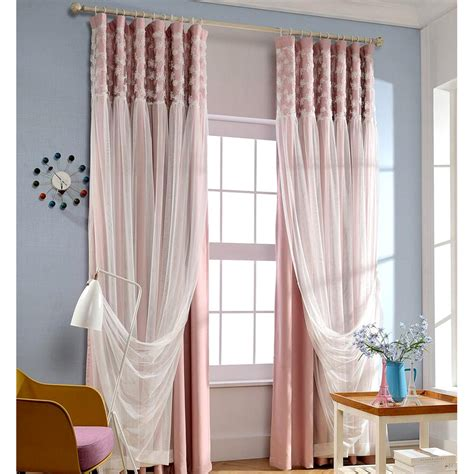 pink and white curtains pink blackout fabric and white lace curtain