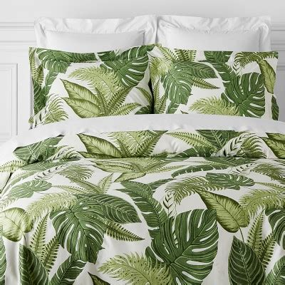 pottery barn eugene island palm printed bedding green williams sonoma