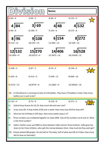 differentiated division worksheet by prof689 teaching resources tes - Division Worksheets Differentiated