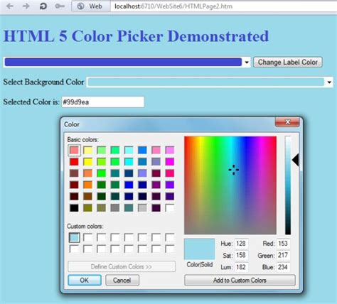 html color picker from image working with html5 color picker