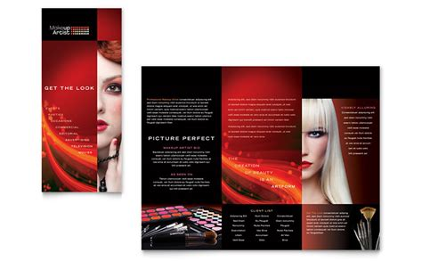 makeup artist tri fold brochure template word publisher