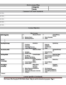 lesson plan template using common standards ela lesson plan template with embedded common standards by aha moments