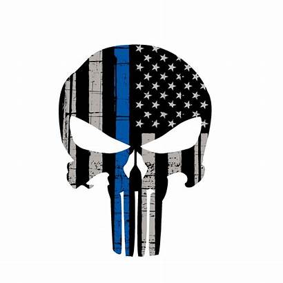 Line Punisher Skull Thin Decal Desktop Flag