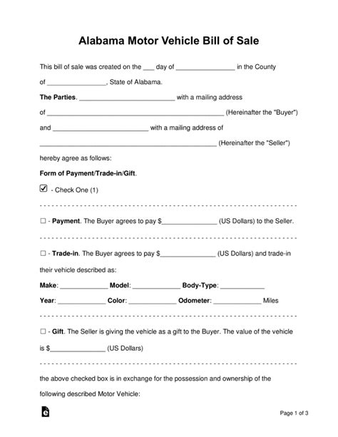 bill of sale template alabama free alabama motor vehicle bill of sale form word pdf eforms free fillable forms