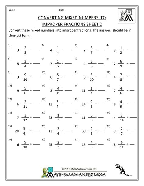 printable fraction worksheets convert mixed numbers to
