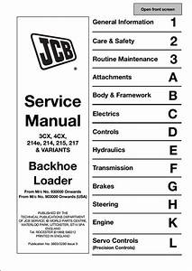 Jcb 3cx 4cx 214e 214 215 217  U0026 Variants Backhoe Loader Service Repair Manual