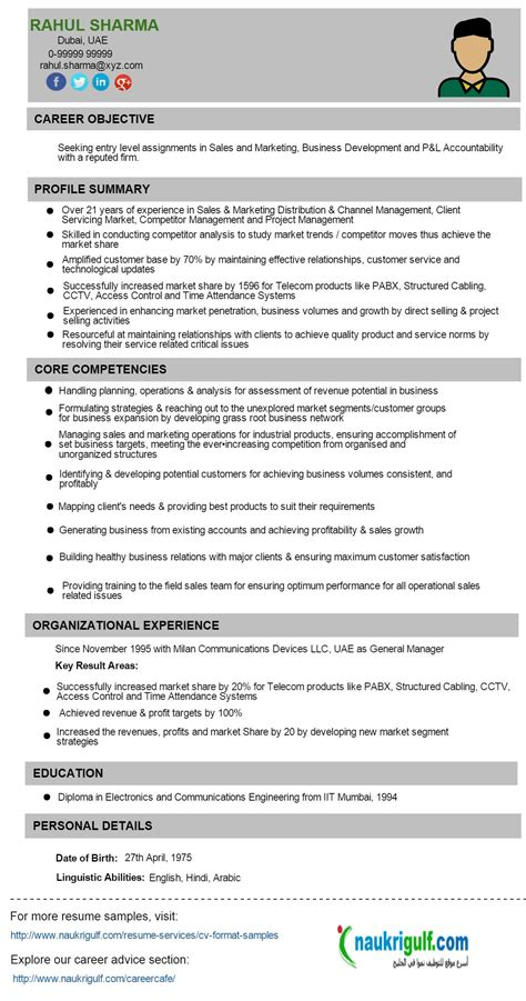Sle Of A Resume Format by Resume Format Uae Resume Templates
