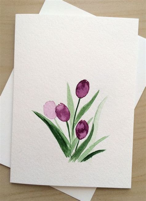 hand painted greeting card xpurple tulips blank