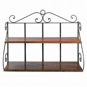 Wrought iron wall shelf unit W 100cm Lubéron Maisons du