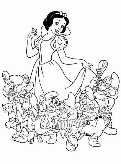 Coloring Dwarfs Snow Seven Pages Disney Drawing