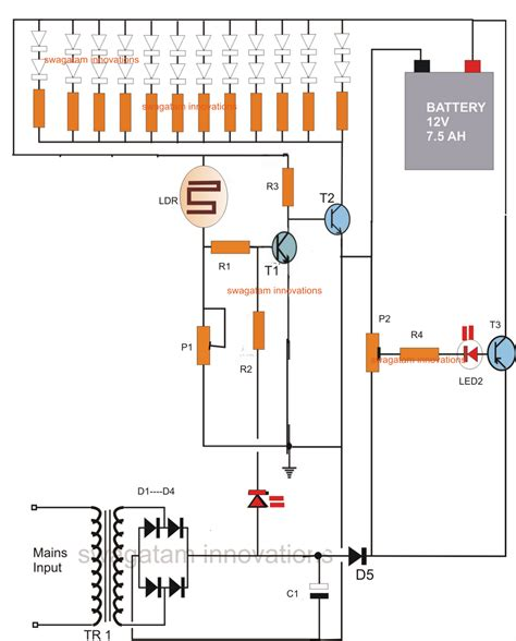led emergency light circuit  battery  charge