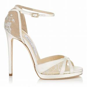 Ivory Satin and White Lace Sandals | Talia 120 | Cruise 17 ...