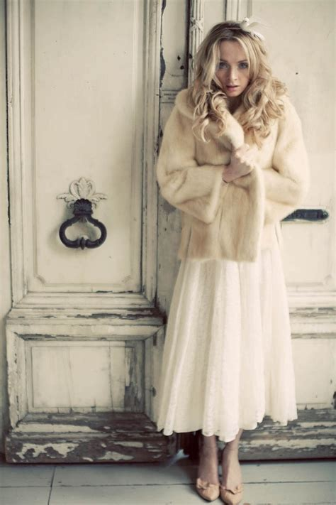 Vintage Wedding Dress And Faux Fur Coat Devillle