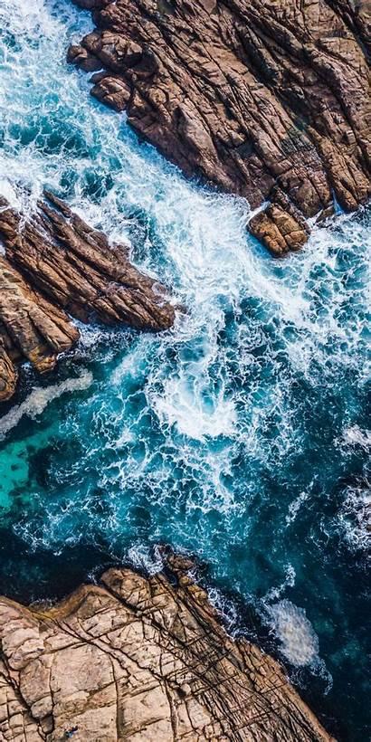 Canal Waves Aerial Coast Sea Shot Rocks