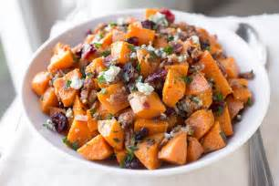 warm roasted sweet potato salad with apple smoked bacon