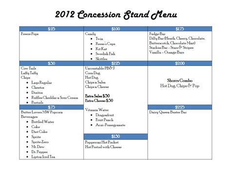 2012 Concession Stand Menu  Romerock Association. Sample College Graduation Announcement. Excellent Free Microsoft Word Invoice Template. House Cleaning Contract Template. Tim Burton Poster. Minnie Mouse Birthday Party Invitations. Weight Loss Spreadsheet Template. Behavior Analysis Graduate Programs. Easy Invoice Template Catering