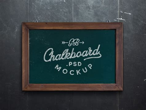 chalkboard mockup psd graphicburger