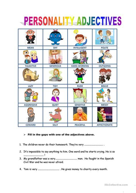 personality descriptions worksheet free esl printable