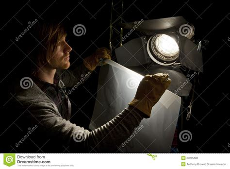 Lighting Technician by Lighting Technician And Studio Light Stock Photography