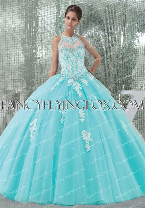 High Collar Halter Neckline Tiffany Blue Quinceanera Dress