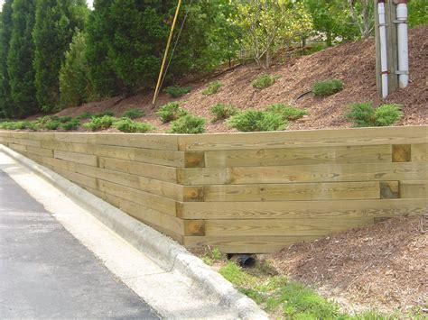 treated wood retaining wall design retaining wall landscape timber retaining wall