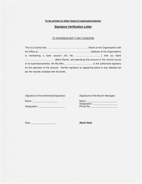 valid bank signature verification letter format