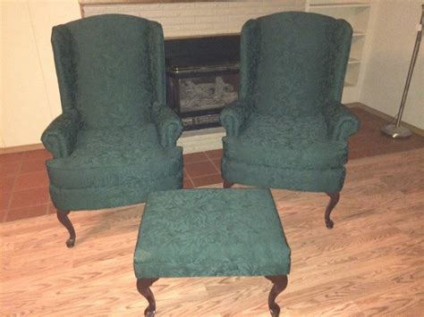 wing back chairs and ottoman forest green cherry dining