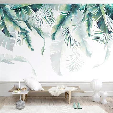 custom mural wallpaper retro tropical palm banana leaves
