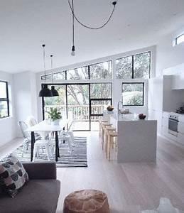Salon Cuisine Ouverte : cuisine ouverte meubles et peinture blanche sur salon gris ~ Melissatoandfro.com Idées de Décoration