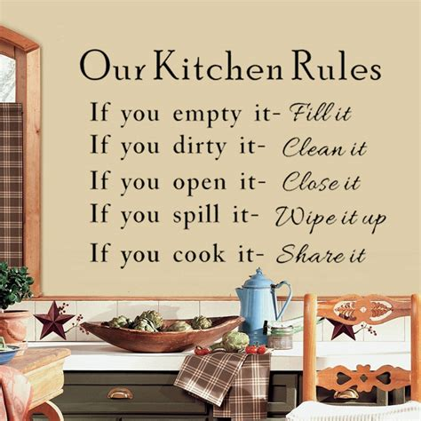 Hot Our Kitchen Rules Cook Clean Quotes Art Wall Stickers