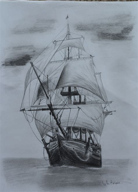sail ship sketch original art pencil drawing