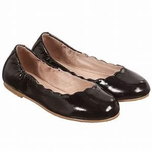 Bloch - Girls Black Patent Leather 'Scallop' Ballerina ...