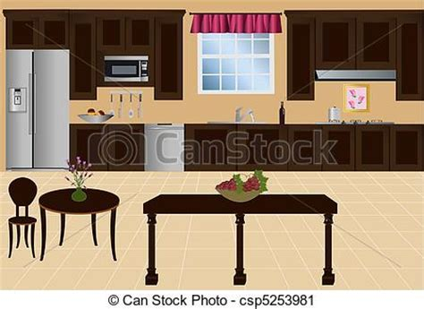 Vector kitchen. Kitchen with island, cabinets and