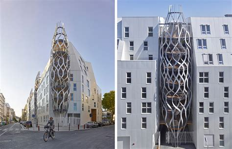 sculptural mesh structures give  apartment building