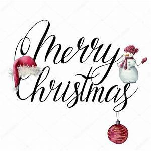Merry Xmas Schriftzug : aquarell weihnachten print frohe weihnachten schriftzug mit weihnachtsmann m tze schneemann ~ Buech-reservation.com Haus und Dekorationen