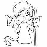 Coloring Halloween Devil Pages Pitchfork Engeltje Sheet Print Books Categories Similar sketch template